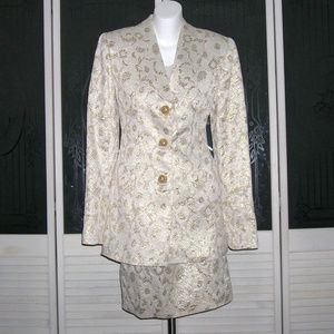 Vintage Couture Gold Lame Skirt Bustier Jacket